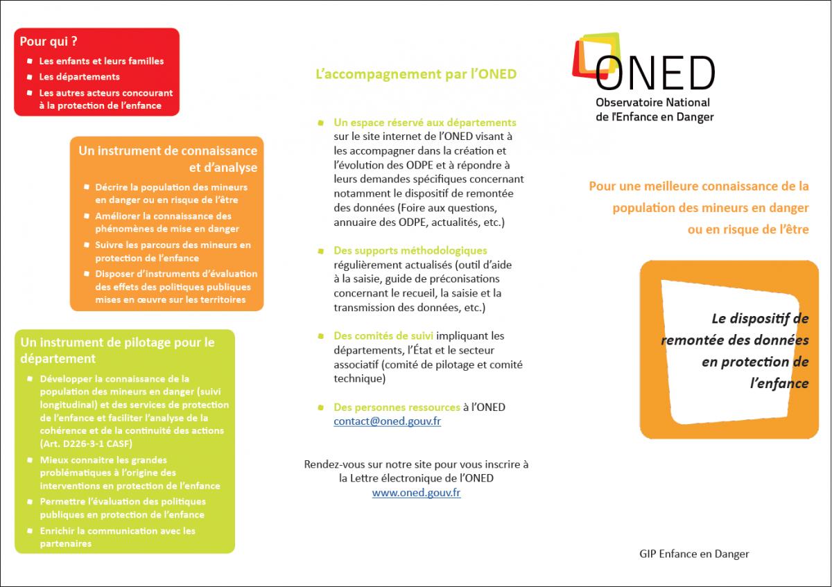 Plaquette de l'ONED présentation du dispositif de remontée des données en protection de l'enfance
